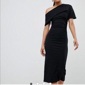 ASOS off one shoulder pencil dress